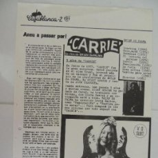 Cine: CARRIE - FOLLETO DE MANO LOCAL CINE CASABLANCA 2 BARCELONA - BRIAN DE PALMA. Lote 128701527