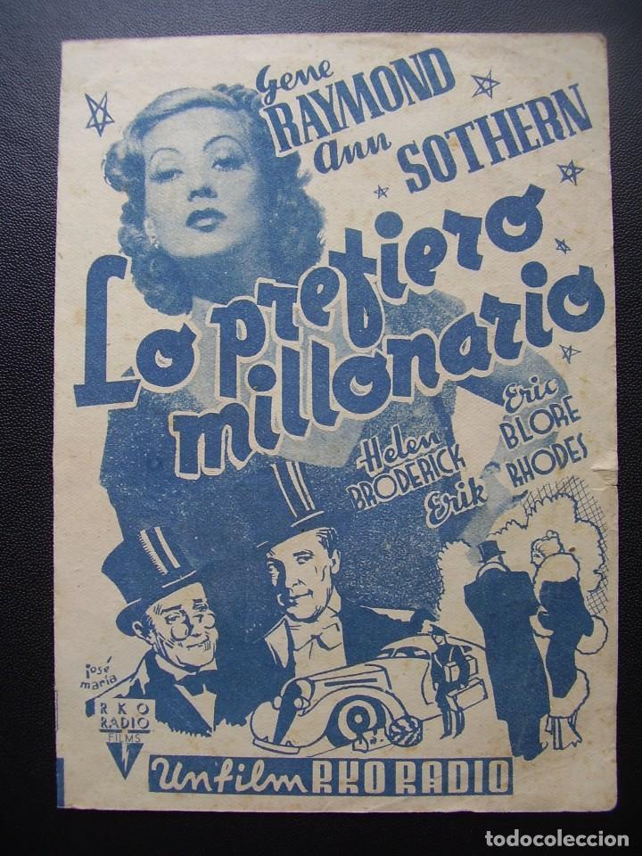 LO PREFIERO MILLONARIO, GENE RAYMOND, ANN SOTHERN, CINE TÍVOLI DEL VENDRELL, 1942 (Cine - Folletos de Mano - Comedia)