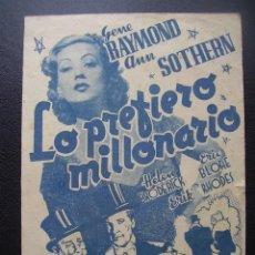 Cine: LO PREFIERO MILLONARIO, GENE RAYMOND, ANN SOTHERN, CINE TÍVOLI DEL VENDRELL, 1942. Lote 128765467