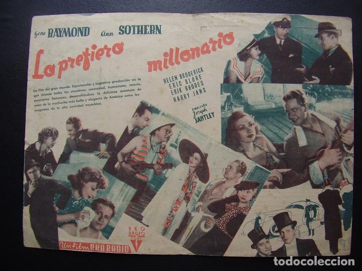 Cine: LO PREFIERO MILLONARIO, GENE RAYMOND, ANN SOTHERN, CINE TÍVOLI DEL VENDRELL, 1942 - Foto 2 - 128765467
