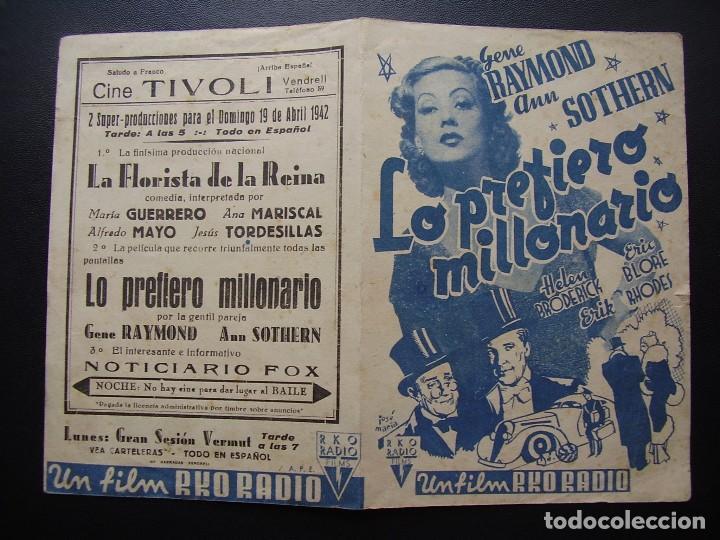Cine: LO PREFIERO MILLONARIO, GENE RAYMOND, ANN SOTHERN, CINE TÍVOLI DEL VENDRELL, 1942 - Foto 3 - 128765467