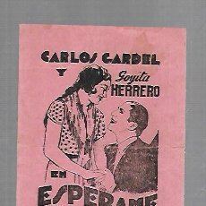 Cine: PROGRAMA DE CINE. S/P. CARLOS GARDEL Y GOYITA HERRERO EN ESPERAME. CINE COLON. VER DORSO. Lote 128851307