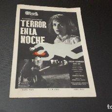 Cine: PROGRAMA DE MANO ORIG - TERROR EN LA NOCHE - SIN CINE . Lote 129069979