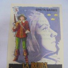 Cine: PROGRAMA DE CINE. C/P. LA REINA CRISTINA DE SUECIA. GRAN VIA. Lote 129210059
