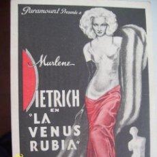 Cine: LA VENUS RUBIA, MARLENE DIETRICH , PROGRAMA SENCILLO PARAMOUNT. Lote 129383879