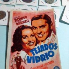 Cine: PROGRAMA DE CINE TEJADOS DE VIDRIO. Lote 129444163