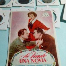 Cine: PROGRAMA DE CINE SE VENDE UNA NOVIA. Lote 129444704