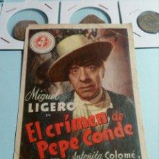Cine: PROGRAMA DE CINE EL CRIMEN DE PEPE CONDE. Lote 129445836