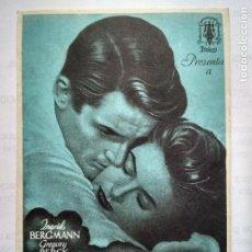 Cine: FOLLETO DE CINE, RECUERDA, INGRID BERGMAN, ORIGINAL, SIN PUBLICIDAD. Lote 129529155