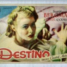 Cine: FOLLETO DE CINE, DESTINO CON INGRID BERGMAN, ORIGINAL, SIN PUBLICIDAD. Lote 129573659