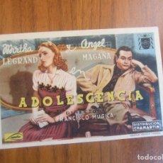 Cine: PROGRAMA DE CINE FOLLETO DE MANO-ADOLESCENCIA-AÑOS 40-50 SIN PUBLICIDAD VER FOTO. Lote 129678935