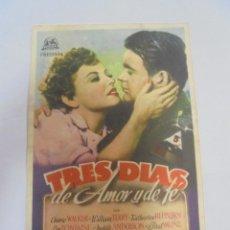 Cine: PROGRAMA DE CINE. C/P. TRES DIAS DE AMOR Y DE FE. SALON FEMINA. Lote 129699359