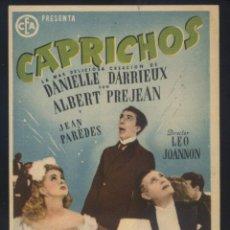 Cine: P-1208- CAPRICHOS (DANIELLE DARRIEUX - ALBERT PRÉJEAN - JEAN PARÉDÈS - FRED PASQUALI). Lote 130090859