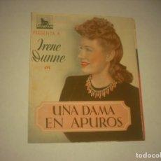 Cine: UNA DAMA EN APUROS, PROGRAMA DOBLE SIN PUBLICIDAD.. Lote 130162507