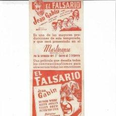 Cine: EL FALSARIO ( CINE MARTINENSE PROGRAMA LOCAL ). Lote 130251218