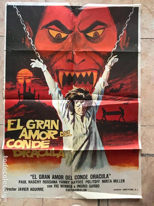 CARTEL CINE TERROR EL GRAN AMOR DEL CONDE DRACULA (1973) 70X100 / PAUL NASCHY (Cine - Folletos de Mano - Terror)