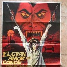 Cine: CARTEL CINE TERROR EL GRAN AMOR DEL CONDE DRACULA (1973) 70X100 / PAUL NASCHY. Lote 130581670