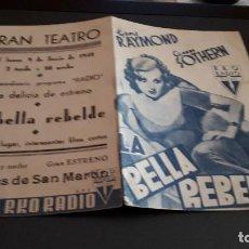Cine: PROGRAMA DE MANO ORIG DOBLE - LA BELLA REBELDE - CINE GRAN TEATRO . Lote 130717359