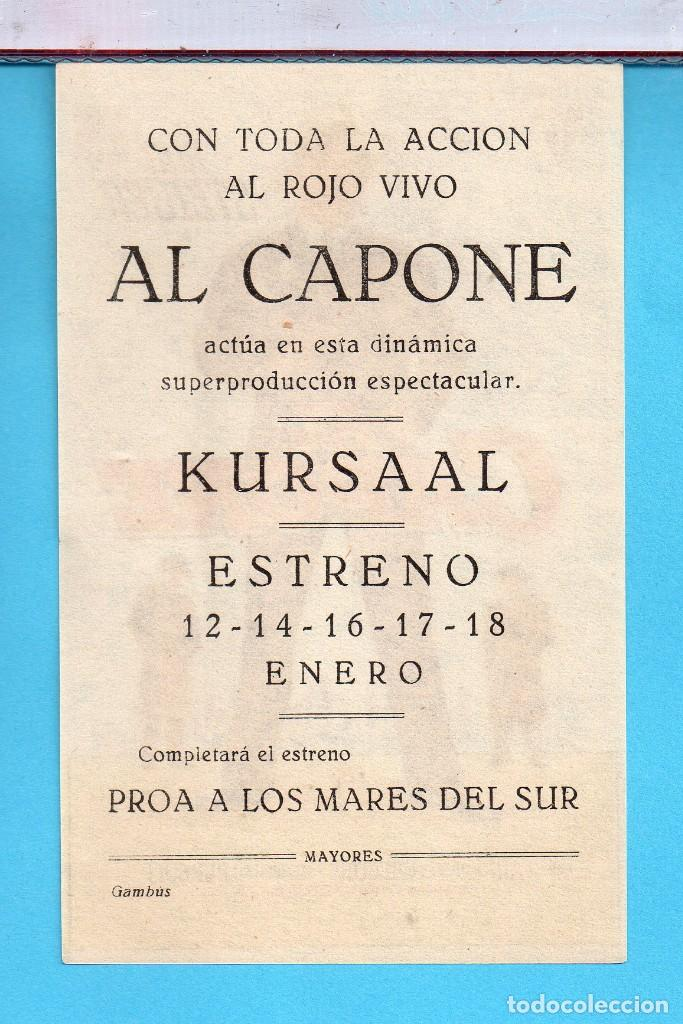 Cine: Folleto de Mano Cine Al Capone Rod Steiger Publicidad Kursaal en Reus - Foto 2 - 195290550