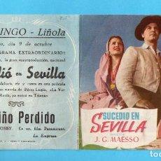 Cine: FOLLETO DE MANO DE SUCEDIO EN SEVILLA CON JUANITA REINA PUBLICIDAD CINE MINGO LIÑOLA. Lote 290030198