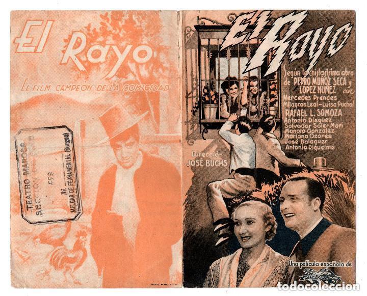 EL RAYO PROGRAMA DOBLE MERCEDES PRENDES MILAGROS LEAL. DIRECTOR: JOSE BUCHS. TETRO MARCOS BURGOS (Cine - Folletos de Mano - Suspense)