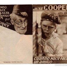 Cine: CUANDO HACE FALTA UN AMIGO, POR JACKIE COOPER.. Lote 132178454