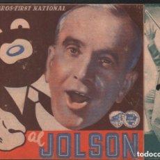 Cine: EL CHICO CANTOR - AL JONSON / PROGRAMA DOBLE WB CON PUBLICIDAD RF-1528. Lote 132265098