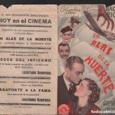 Cine: EN ALAS DE LA MUERTE PROGRAMA DOBLE CON PUBLICIDAD RF-1547 , AÑOS 30. Lote 132358850