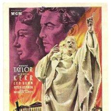 Cine: PTCC 008 QUO VADIS PROGRAMA TARJETA ESPECIAL MGM ROBERT TAYLOR DEBORAH KERR. Lote 132416630