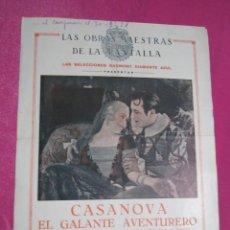Cine: CASANOVA EL GALANTE AVENTURERO IVAN MOSJOUKINE PROGRAMA DE CINE 1928 GRANDE. Lote 132430342