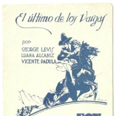 Cine: PTCC 009 EL ULTIMO DE LOS VARGAS PROGRAMA DOBLE FOX GEORGE J LEWIS ZANE GREY JUAN DE LANDA VILLARIAS. Lote 132474594
