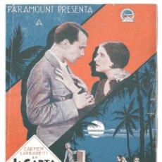 Cine: PTCC 009 LA CARTA PROGRAMA DOBLE PARAMOUNT CARMEN LARRABEITI SOMERSET MAUGHAM. Lote 132484054