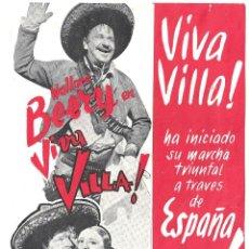 Cine: PTCC 010 VIVA VILLA PROGRAMA DOBLE MGM WALLACE BEERY FAY WRAY LEO CARRILLO RARO. Lote 132491254