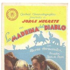 Cine: PTCC 012 LA MADRINA DEL DIABLO PROGRAMA SENCILLO CENTRAL CINEMATOGRAFICA BILBAO JORGE NEGRETE RARO. Lote 132549990