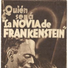 Cine: PTEB 003 LA NOVIA DE FRANKENSTEIN PROGRAMA DOBLE ORIGINAL GRANDE UNIVERSAL BORIS KARLOFF TERROR. Lote 132571786