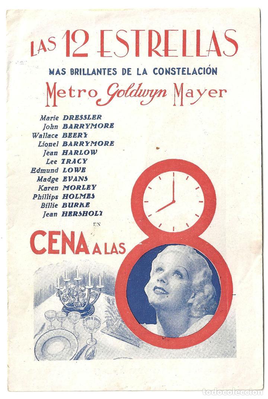 PTEB 004 CENA A LAS 8 PROGRAMA DOBLE MGM JEAN HARLOW LIONEL BARRYMORE WALLACE BEERY EDMUND LOWE (Cine - Folletos de Mano - Drama)