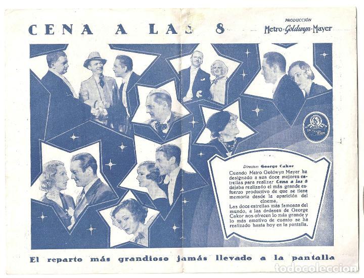 Cine: PTEB 004 CENA A LAS 8 PROGRAMA DOBLE MGM JEAN HARLOW LIONEL BARRYMORE WALLACE BEERY EDMUND LOWE - Foto 2 - 132573578