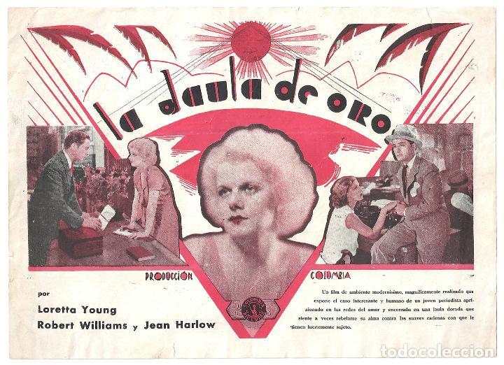 PTEB 005 LA JAULA DE ORO PROGRAMA SENCILLO COLUMBIA JEAN HARLOW LORETTA YOUNG FRANK CAPRA (Cine - Folletos de Mano - Drama)