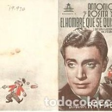 Cine: PROGRAMA CINE. EL HOMBRE QUE SE QUISO MATAR. DIPTICO. REF. 19-930. Lote 132575238
