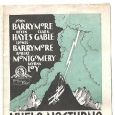 Cine: PTEB 005 VUELO NOCTURNO PROGRAMA DOBLE MGM CLARK GABLE LOY HELEN HAYES JOHN LIONEL BARRYMORE. Lote 132575322