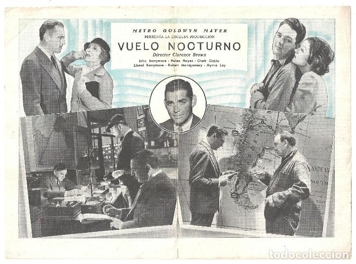Cine: PTEB 005 VUELO NOCTURNO PROGRAMA DOBLE MGM CLARK GABLE LOY HELEN HAYES JOHN LIONEL BARRYMORE - Foto 2 - 132575322