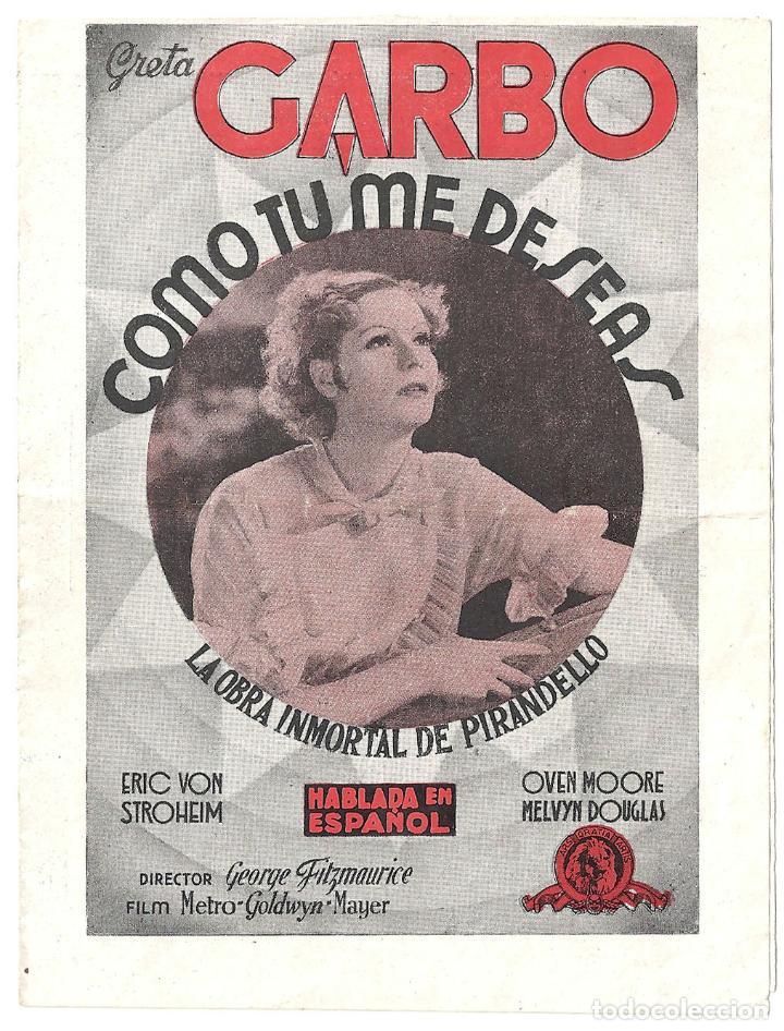 PTEB 005 COMO TU ME DESEAS PROGRAMA DOBLE MGM GRETA GARBO ERICH VON STROHEIM (Cine - Folletos de Mano - Drama)