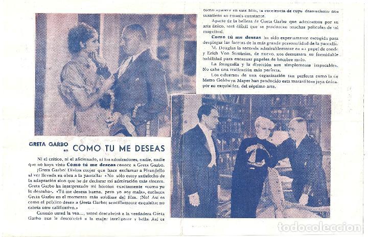 Cine: PTEB 005 COMO TU ME DESEAS PROGRAMA DOBLE MGM GRETA GARBO ERICH VON STROHEIM - Foto 2 - 132576146