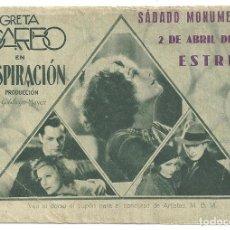 Cine: PTEB 005 INSPIRACION PROGRAMA DOBLE CONCURSO ARTISTAS MGM GRETA GARBO ROBERT MONTGOMERY. Lote 132576858