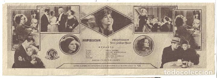 Cine: PTEB 005 INSPIRACION PROGRAMA DOBLE CONCURSO ARTISTAS MGM GRETA GARBO ROBERT MONTGOMERY - Foto 2 - 132576858