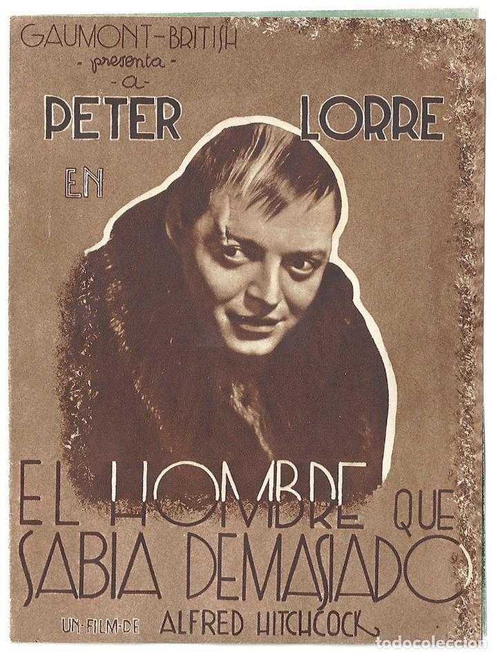 PTEB 006 EL HOMBRE QUE SABIA DEMASIADO PROGRAMA DOBLE ATLANTIC ALFRED HITCHCOCK PETER LORRE MARRON (Cine - Folletos de Mano - Suspense)