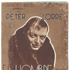 Cine: PTEB 006 EL HOMBRE QUE SABIA DEMASIADO PROGRAMA DOBLE ATLANTIC ALFRED HITCHCOCK PETER LORRE MARRON. Lote 132577082