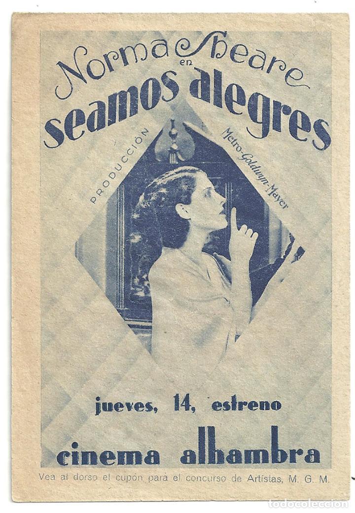 PTEB 006 SEAMOS ALEGRES PROGRAMA DOBLE CONCURSO ARTISTAS MGM NORMA SHEARER MARIE DRESSLER (Cine - Folletos de Mano - Drama)