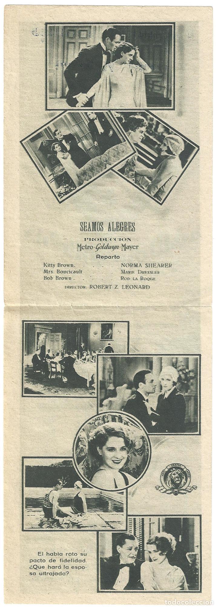 Cine: PTEB 006 SEAMOS ALEGRES PROGRAMA DOBLE CONCURSO ARTISTAS MGM NORMA SHEARER MARIE DRESSLER - Foto 2 - 132578650