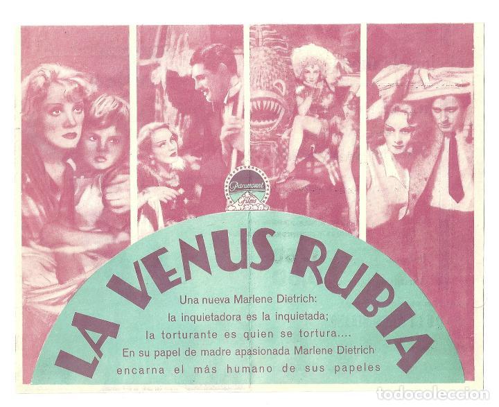 Cine: PTEB 008 LA VENUS RUBIA PROGRAMA DOBLE PARAMOUNT MARLENE DIETRICH CARY GRANT HERBERT MARSHALL - Foto 2 - 132586054